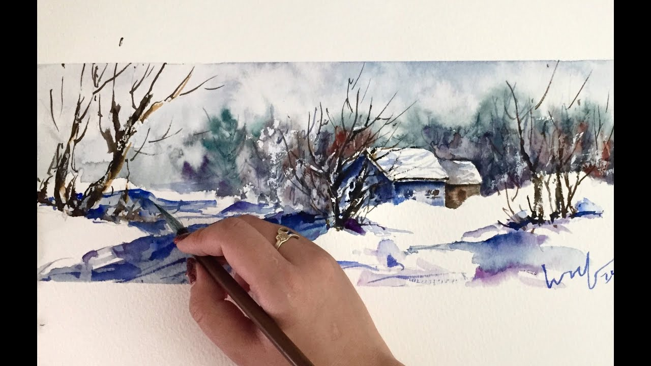Time lapse watercolor winter snow scene by untamed little for Watercolor scenes beginners