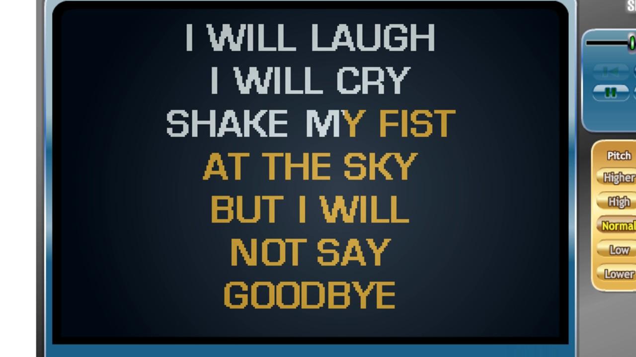 Danny Gokey I Will Not Say Goodbye Karaoke Youtube