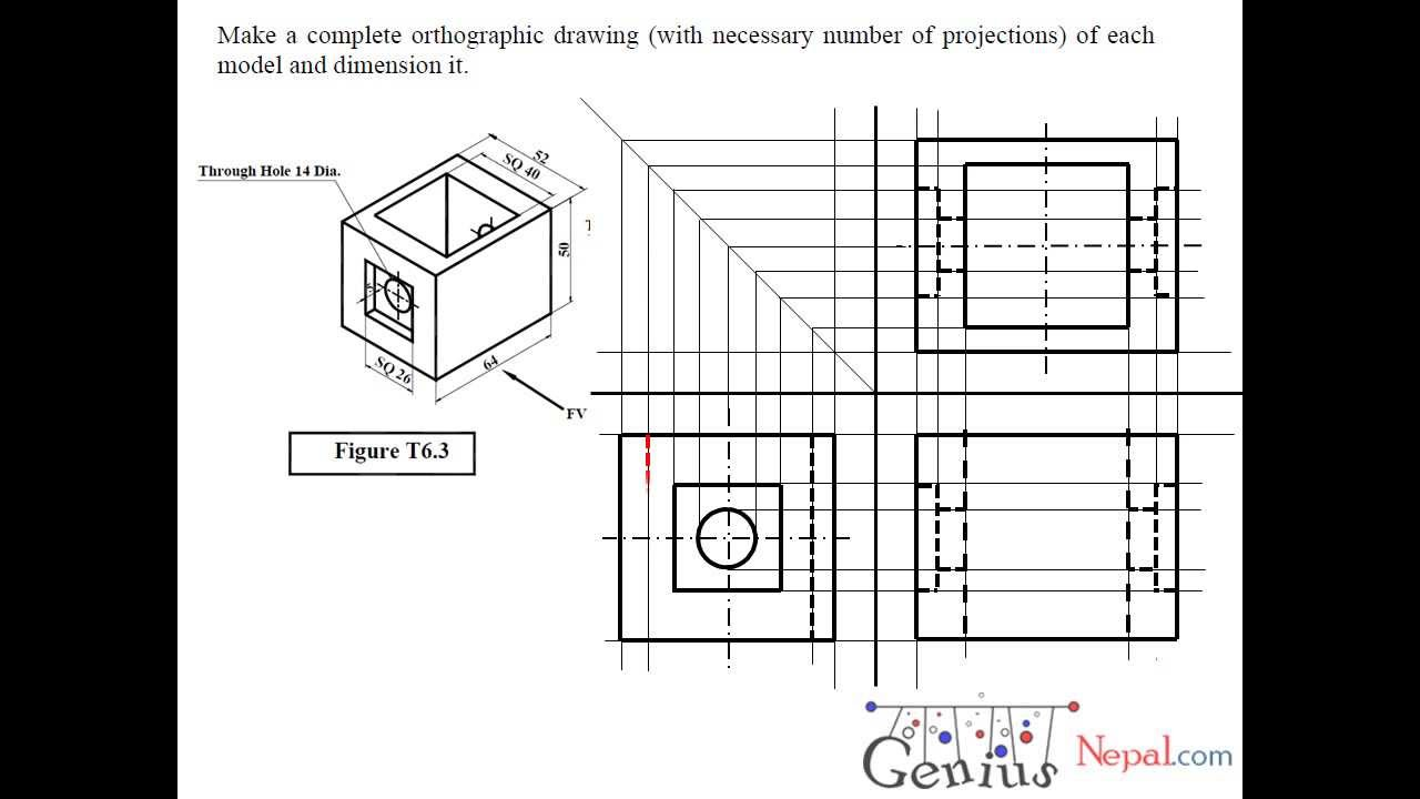 Engineering Drawing Tutorials/Orthographic drawing 2 with