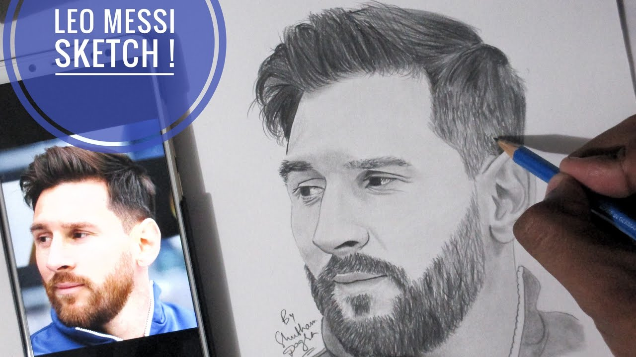 Drawing lionel messi in 2018 fifa world cup russia pencil sketch