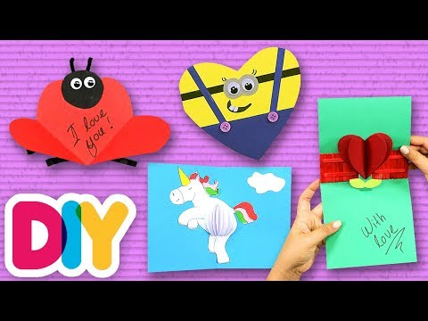 4 Cute VALENTINE CARDS 💌 Paper Crafts made with love ❤️ Fast-n-Easy | DIY Arts & Crafts