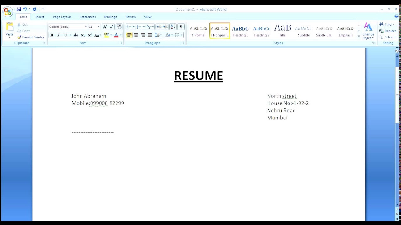simple resume in microsoft word