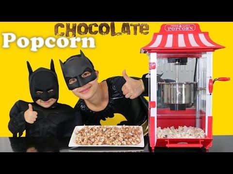 Making Chocolate Popcorn With Little Batman And Mumma Bat Kids Superhero Funtime At Home Ckn Toys