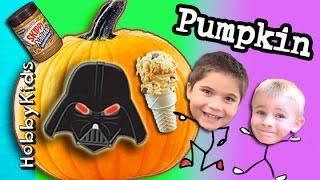 Surprise PUMPKIN Face + Home Made Pumpkin Ice-Cream! DIY Peanut Butter Cones HobbyKidsVids