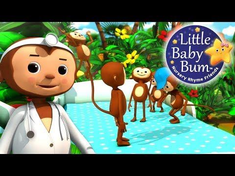 Five Little Monkeys Jumping On The Bed   Part 2   Nursery Rhymes   by LittleBabyBum!