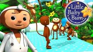 Five Little Monkeys Jumping On The Bed | Part 2 | Nursery Rhymes | by LittleBabyBum