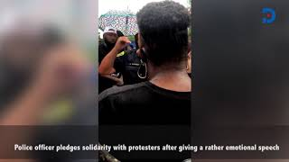 Police officer pledges solidarity with protesters after giving emotional speech in viral video