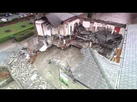 Waterside Inn in Summerseat partly collapsed due to the River Irwell flooding