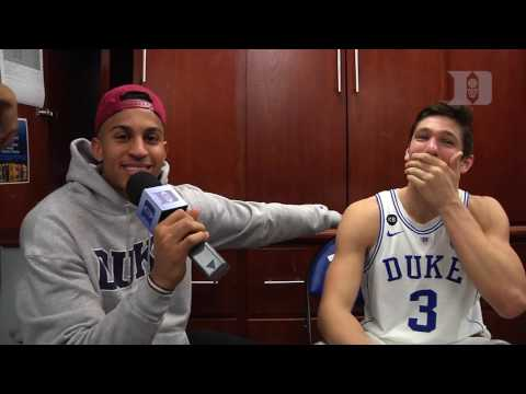 DBP: Frank Jackson with Grayson Allen after the Pitt Win (2/4/17)
