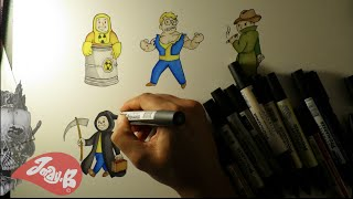 Drawing fallout 4 Vault Boy Ep 4 PERKS