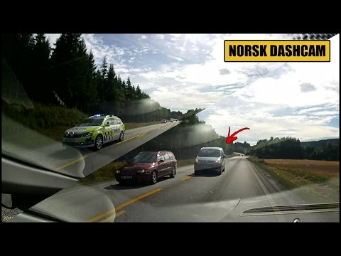 Stupid overtaking after police in emergency has passed - Kongsvinger, Hedmark (Norway)