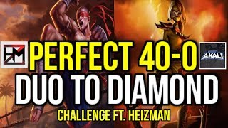 (100% WINRATE) 40W 0L UNRANKED TO DIAMOND DUO CHALLENGE!! FT. Heizman - League of Legends