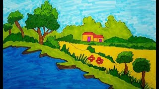 Drawing scenery | scenery of village | Learn Drawing for Kids, children's & beginners