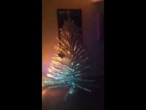 Mid-Century 7 ft Aluminum Christmas Tree With Rotating Stand ...