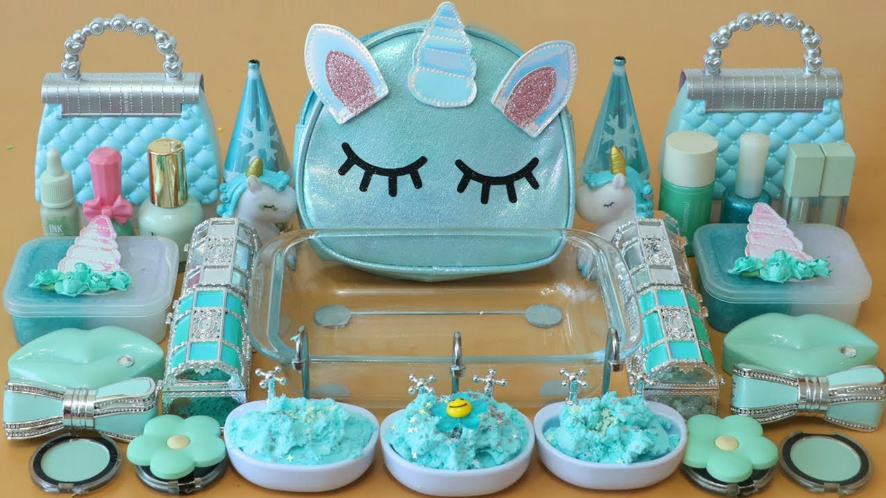 """Mixing""""Mint Unicorn"""" Eyeshadow and Makeup,parts,glitter Into Slime!Satisfying Slime Video!★ASMR★"""