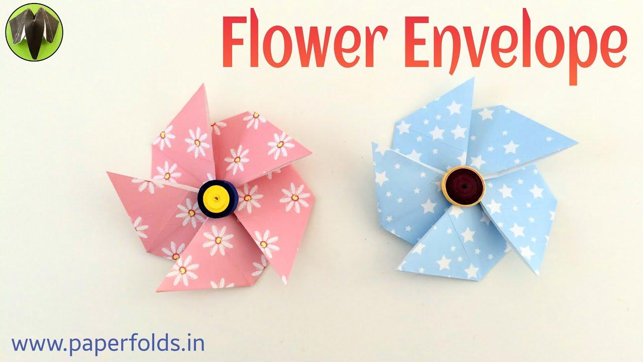 Flower envelope diy origami tutorial by paper folds 680 youtube mightylinksfo