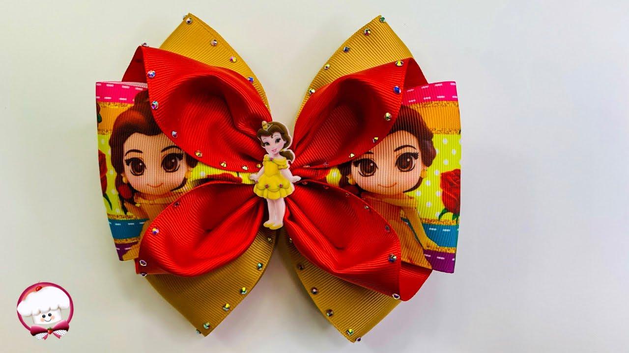 Como hacer un moño para niñas con listón de 7.5 cm | moños fáciles de hacer | lazos de listón