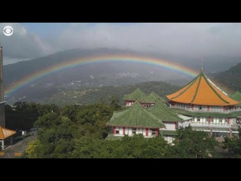 Rainbow arches over Taiwan for a record-breaking nine hours