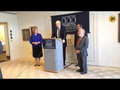 Former U.S. Senator Alan Simpson addresses the media on the economy at the Panetta Institute