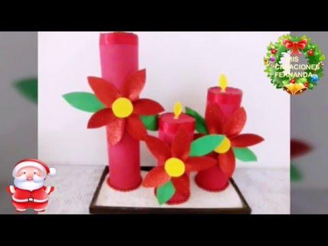 Centro de mesa con velas de foami manualidad econ mica - Centros de mesa navidad 2014 ...