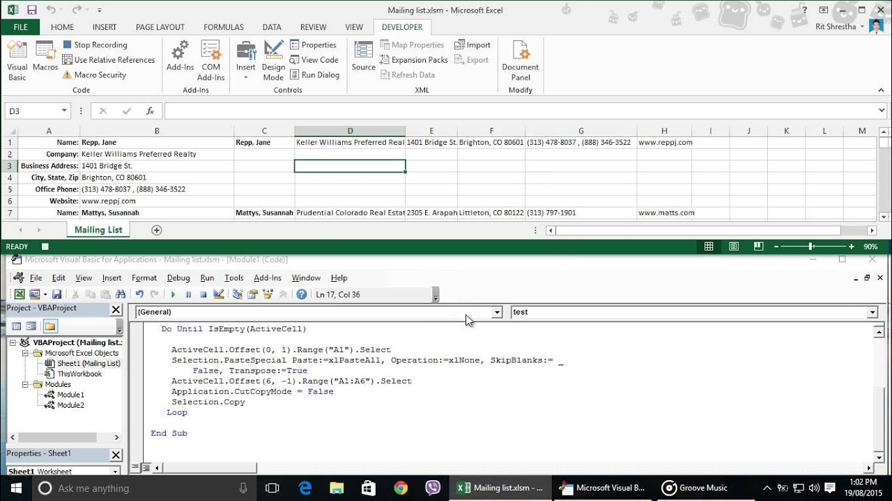 How to transpose column contact data into row database Part 4 - YouTube
