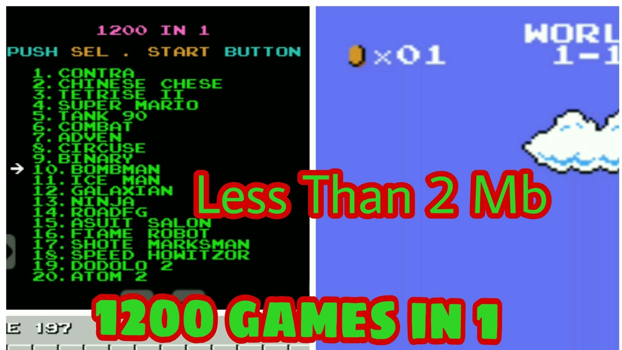 [2MB] 1200 games in 1 apk 😱 less than 2 Mb Old days games like super  mario, bomberman, contra etc