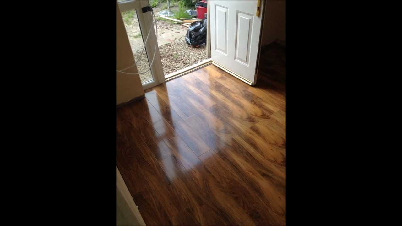 Laminate Flooring By Perfection Flooring Beveloc Walnut Gloss Laminate Installation Youtube
