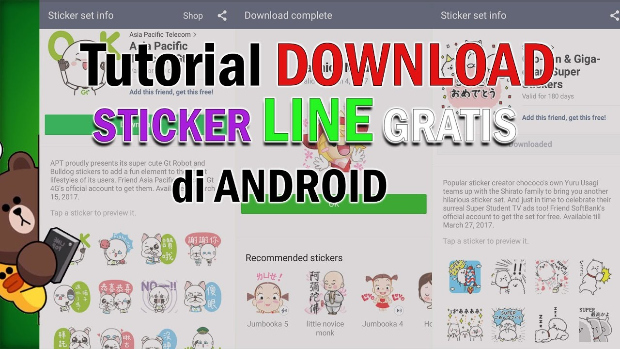 Tutorial Cara Download Sticker Line Gratis Di Android 2017 Youtube