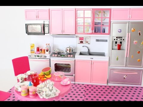 NEW BARBIE DOLL MODERN KITCHEN UNBOXING || TiaTia