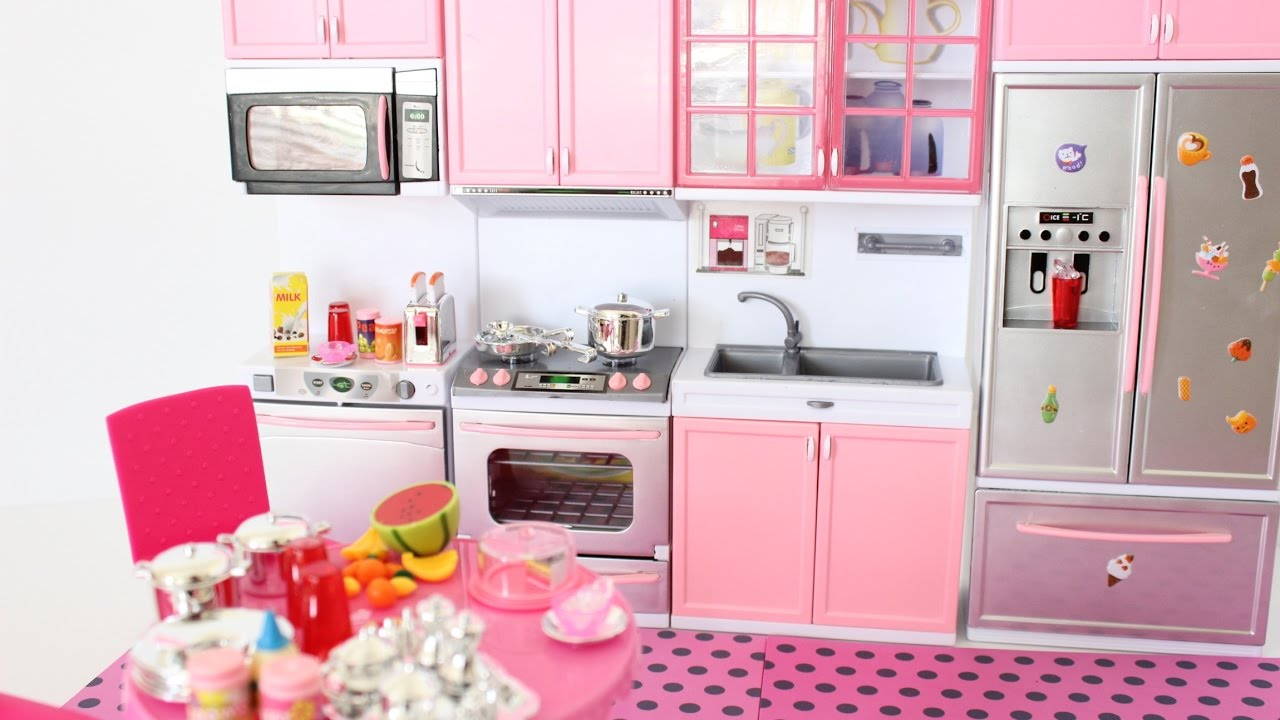 New Barbie Doll Giant And Pink Modern Kitchen Opening