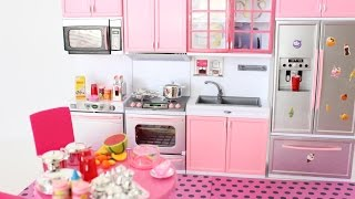 NEW BARBIE DOLL GIANT  AND PINK MODERN KITCHEN OPENING / UNBOXING || TiaTia