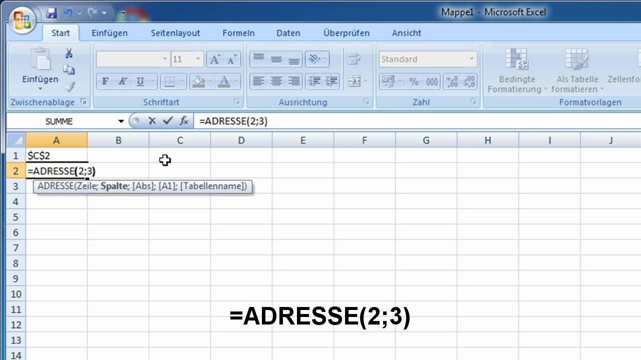 Excel Funktion Adresse