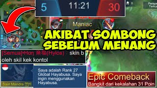 EPIC COMEBACK 31 POINT KILL DARI TOP GLOBAL HAYABUSA ! AWAL NYA DI REMEHIN MUSUH  - Mobile Legends