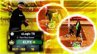 I TOOK MY 99 OVERALL POST SCORER TO THE 1v1 COURT IN STAGE!! BEST CENTER BUILD NBA 2K19!