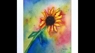 sunflower watercolor painting time lapse   watercolor painting