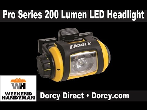 dorcydirect pro series 200 lumen led headlight with stand weekend handyman youtube. Black Bedroom Furniture Sets. Home Design Ideas