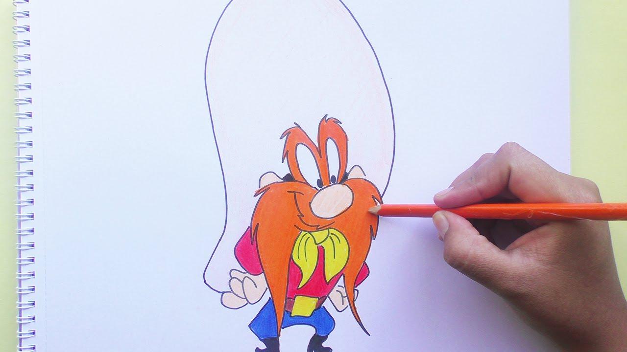 Dibujando Y Pintando A Sam Bigotes Looney Tunes Drawing