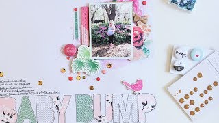 Baby Bump 12x12 Scrapbook Layout Process Video Using Brads and Chipboard Stickers