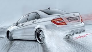 Mercedes C63 AMG Drift Drawing by Adonis Alcici