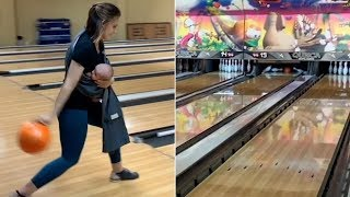 Mom Bowls Strike While Breastfeeding Daughter