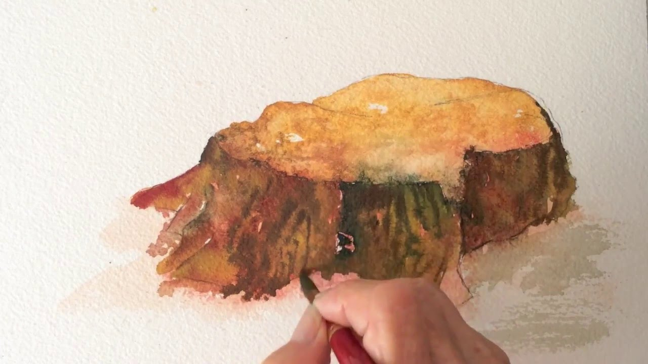Tree Stump Watercolor Tutorial Part 1 How To Paint Fast