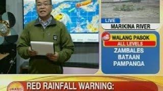 UB: Red rainfall warning, itinaas na sa Metro Manila, Bulacan at Rizal