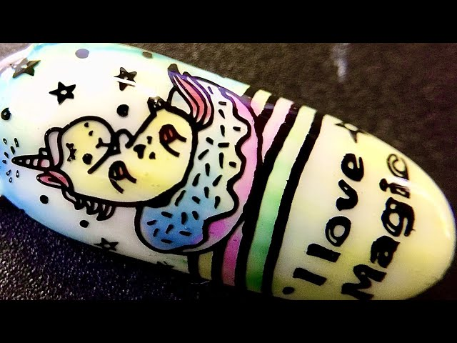 Live_ Rainbow unicorn nail art with jelly watercolor polish and sticky stamping polish _SheModern