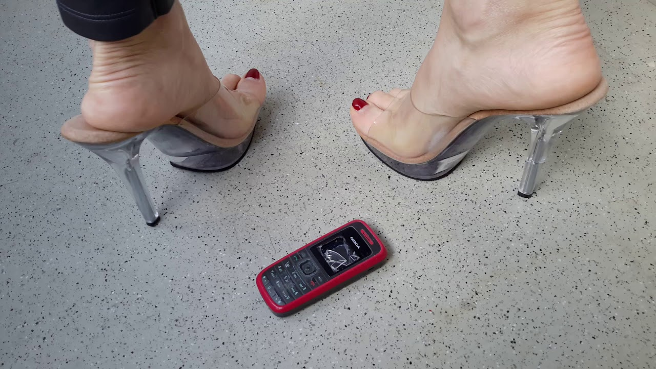 Crystal high heels Mules crushing mobil phone hard