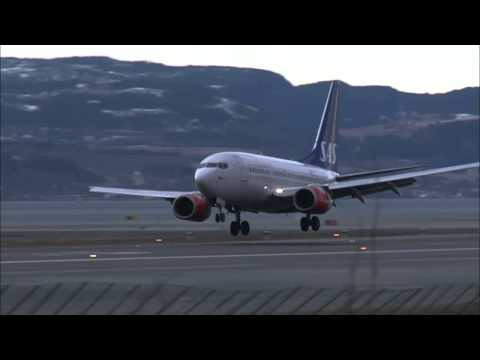 Se de turbulente landingene på Værnes