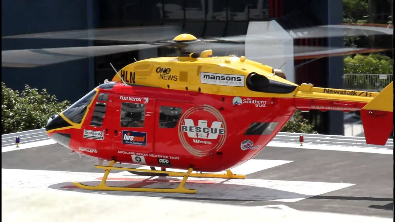 Westpac rescue helicopter starts and takes off from ...