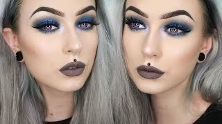 Full Face First Impressions - NEW Makeup of 2017 Grunge Blue w/ GREY LIPS | Evelina Forsell