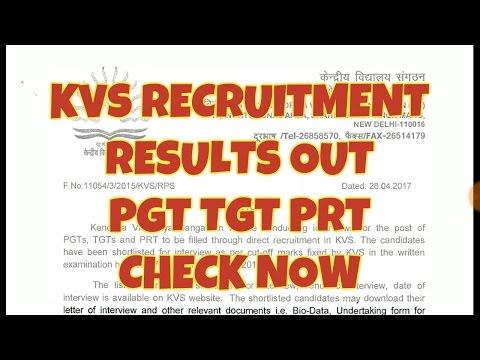 KVS Cutoff Out PRT TGT PGT Results