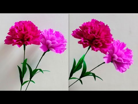 How to make Paper Flowers Carnation / Dianthus caryophyllus (flower # 187)
