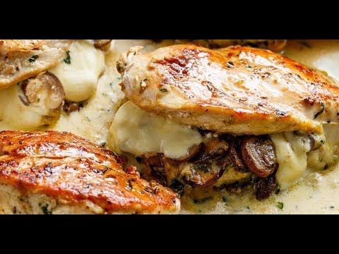 Cheesy Garlic Butter Mushroom Stuffed Chicken